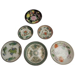 Set of Six Asian Export Round Floral Plates on Metal Casings