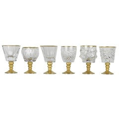 Set of Six Assorted Goblets in Gold