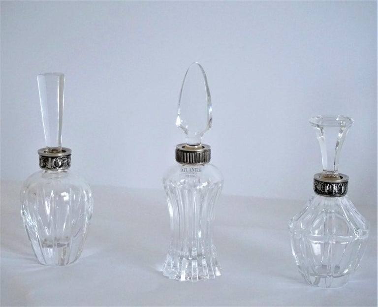 Portuguese Set of Six Art Deco Atlantis Crystal and Silver Perfume Bottles For Sale