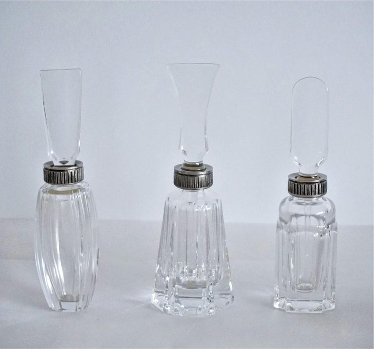 Portuguese Set of Six Atlantis Crystal and Silver Perfume Bottles For Sale
