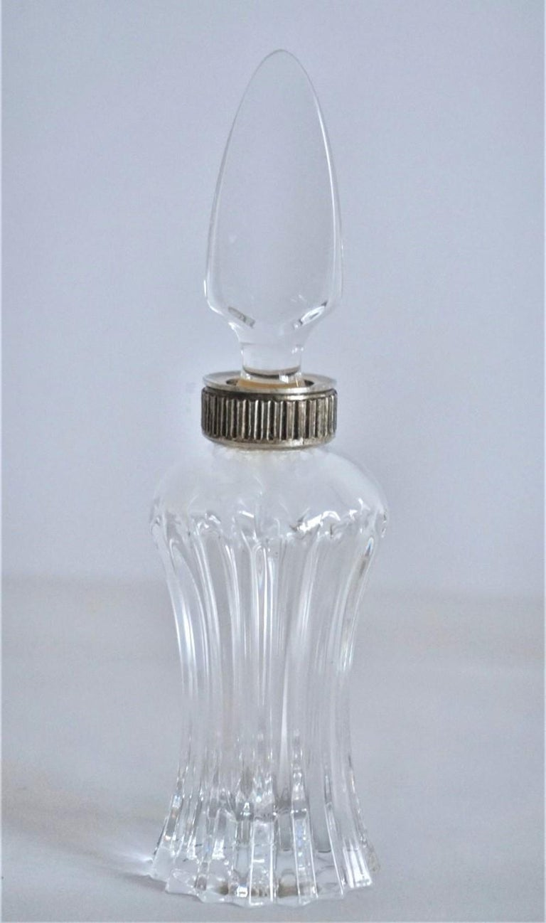 Set of Six Art Deco Atlantis Crystal and Silver Perfume Bottles For Sale 2