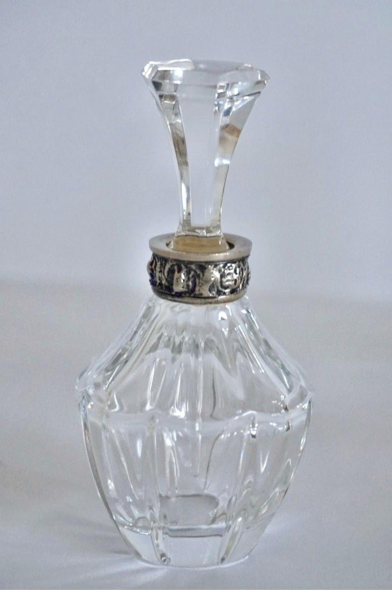 Set of Six Art Deco Atlantis Crystal and Silver Perfume Bottles For Sale 3