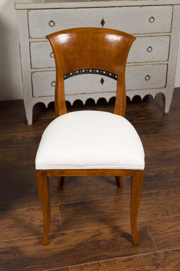 Ebonized Set of Six Austrian 1880s Biedermeier Style Walnut Dining Room Side Chairs For Sale