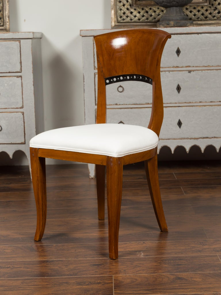 Upholstery Set of Six Austrian 1880s Biedermeier Style Walnut Dining Room Side Chairs For Sale