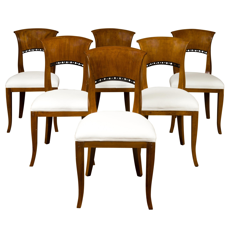 Set of Six Austrian 1880s Biedermeier Style Walnut Dining Room Side Chairs