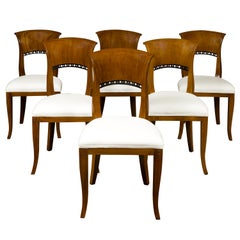 Set of Six Austrian 1880s Biedermeier Style Walnut Dining Room Side Chairs