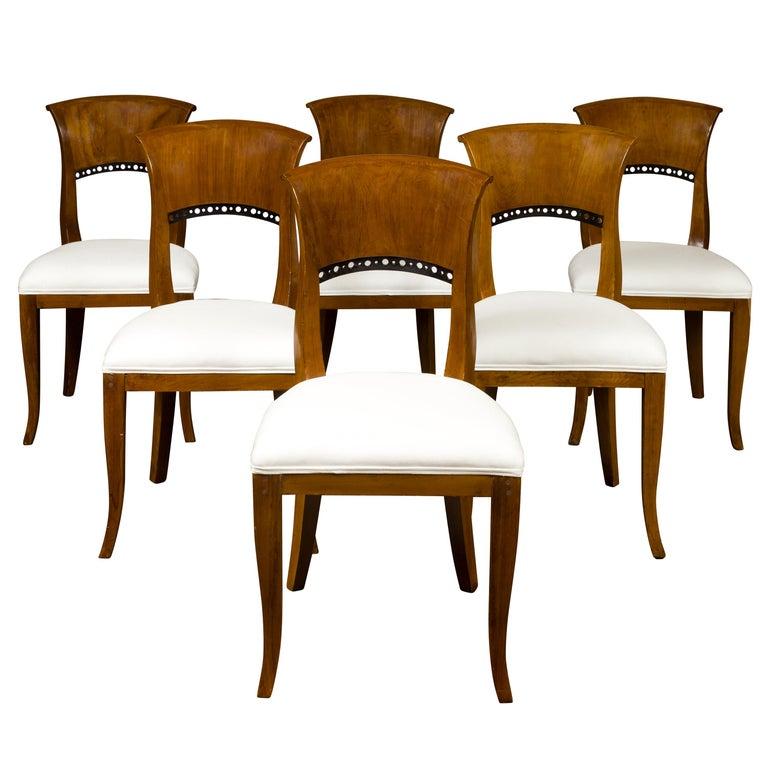 Set of Six Austrian 1880s Biedermeier Style Walnut Dining Room Side Chairs For Sale