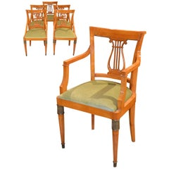 Set of Six Austrian Biedermeier Dining Chairs