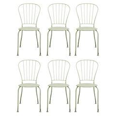 Set of Six Austrian Midcentury White Metal Stackable Garden Chairs