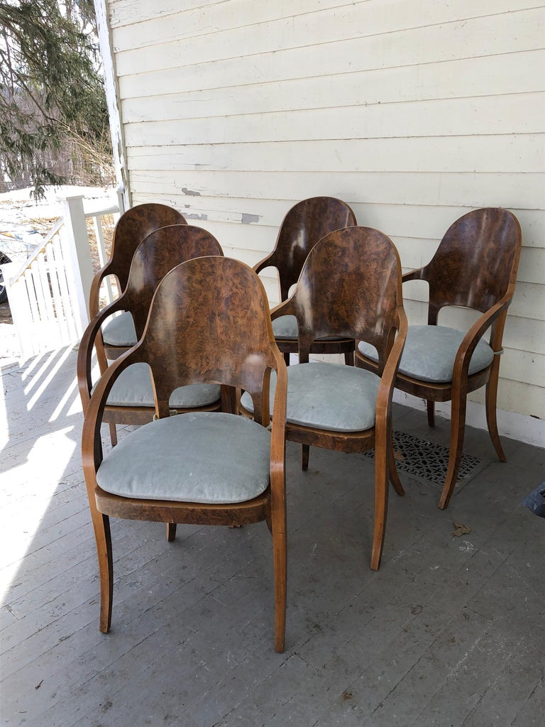 Set of six Austrian or Italian walnut dining room armchairs with tie-on loose