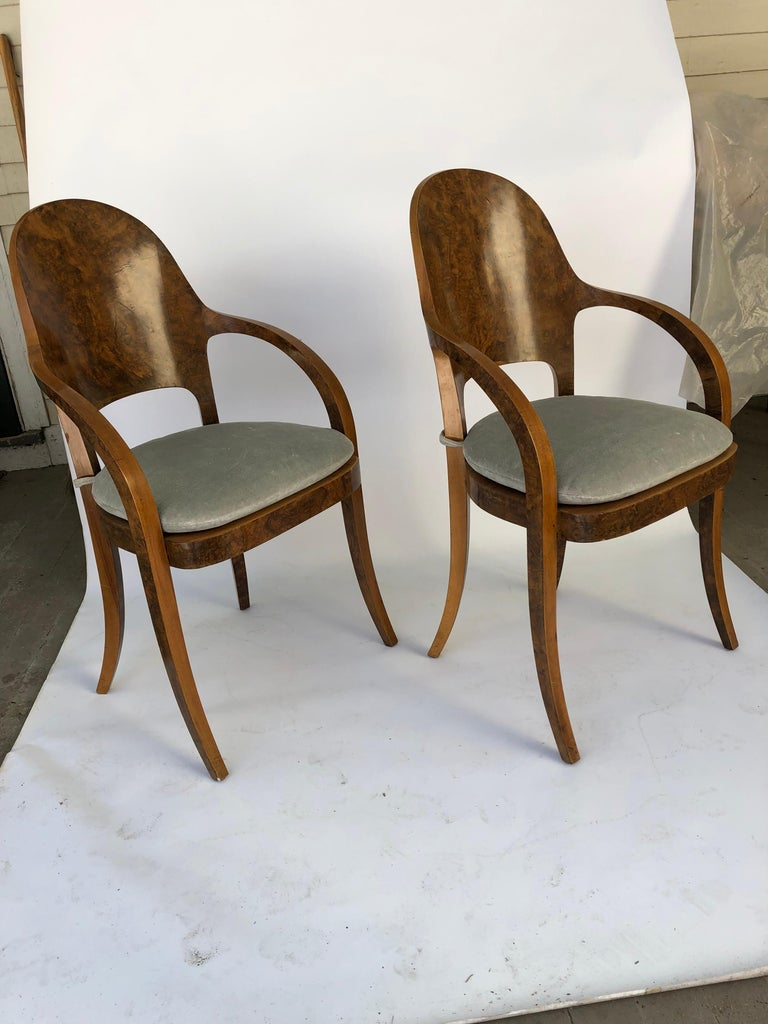 Set of Six Austrian or Italian Walnut Dining Armchairs In Good Condition For Sale In Hudson, NY