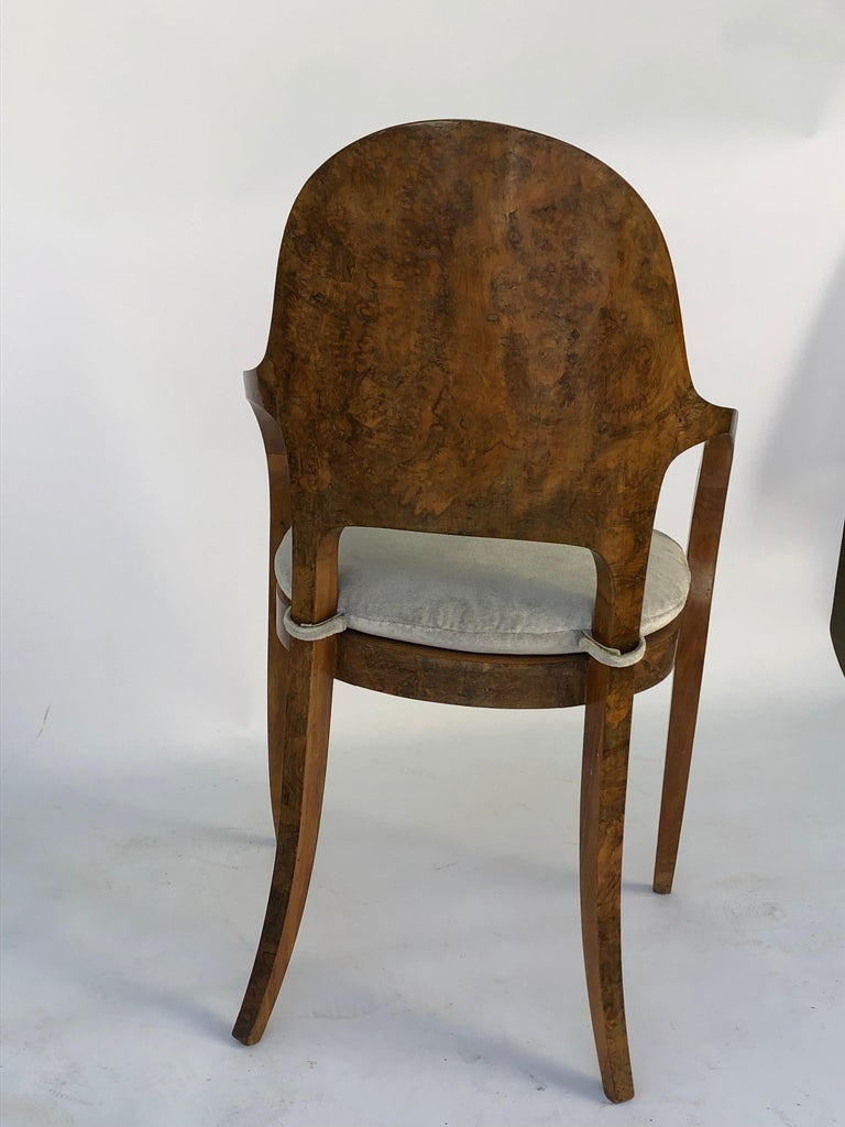Set of Six Austrian or Italian Walnut Dining Armchairs For Sale 1