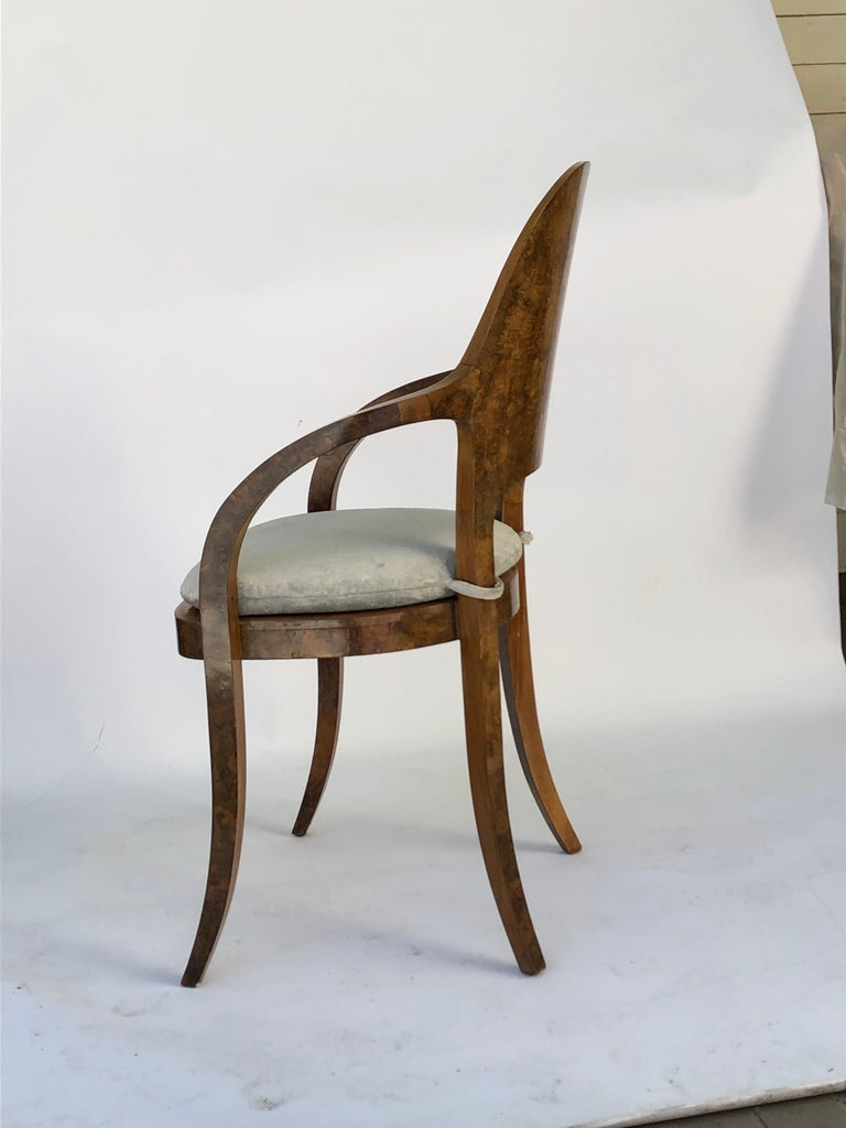 Set of Six Austrian or Italian Walnut Dining Armchairs For Sale 2