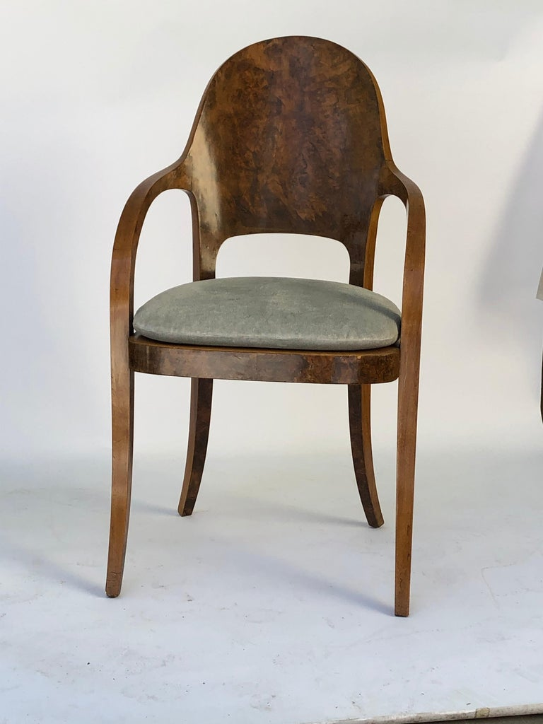 Set of Six Austrian or Italian Walnut Dining Armchairs For Sale 3