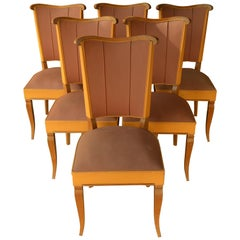 Set of Six Authentic French Art Deco Moleskine Dining Chairs from the 1930s