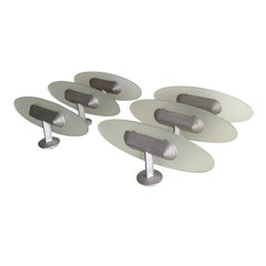 Set of six B Lux Wall Lamps, Uplighters, Aluminum and Glass, Spain