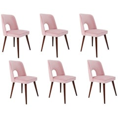 "Set of Six Baby Pink ""Shell"" Chairs, 1960s"