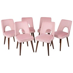 Set of Six Baby Pink Velvet 'Shell' Chairs, 1960s
