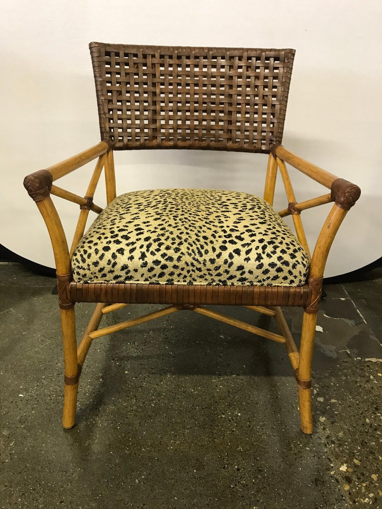 American Set of Six Bamboo Rattan and Woven Leather Dining Chairs For Sale