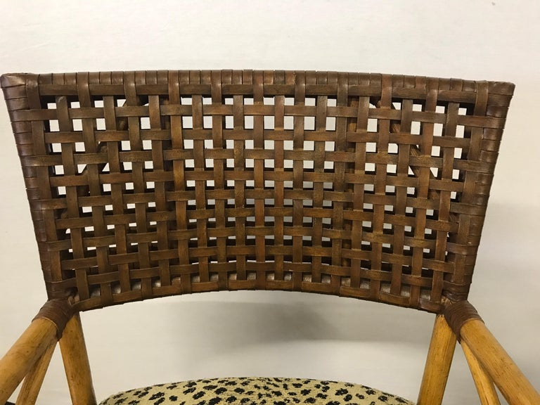 Set of Six Bamboo Rattan and Woven Leather Dining Chairs In Excellent Condition For Sale In West Hartford, CT
