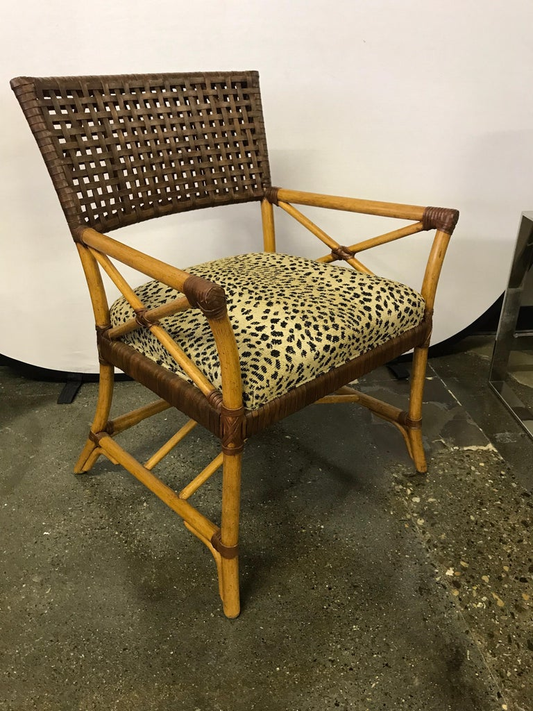 Set of Six Bamboo Rattan and Woven Leather Dining Chairs For Sale 1