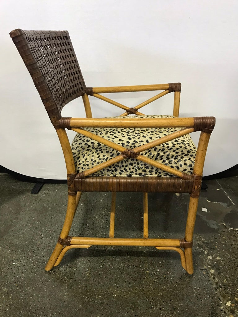 Set of Six Bamboo Rattan and Woven Leather Dining Chairs For Sale 2