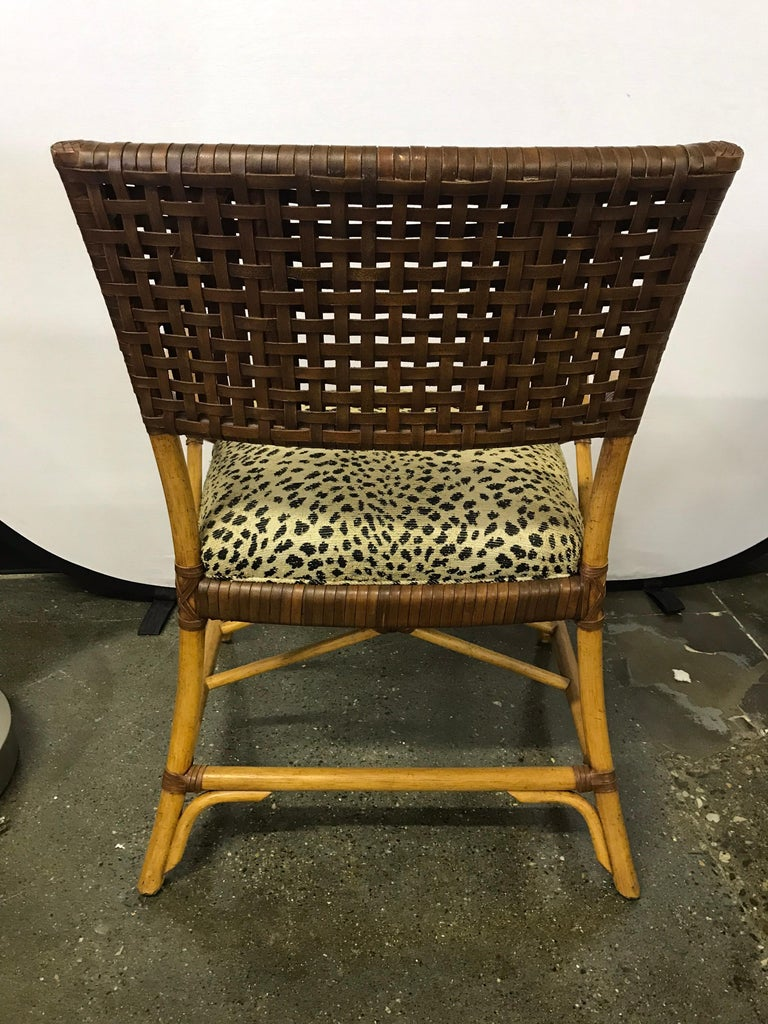 Set of Six Bamboo Rattan and Woven Leather Dining Chairs For Sale 3