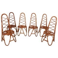 Set of Six Bamboo Chairs from the 60s, Spain
