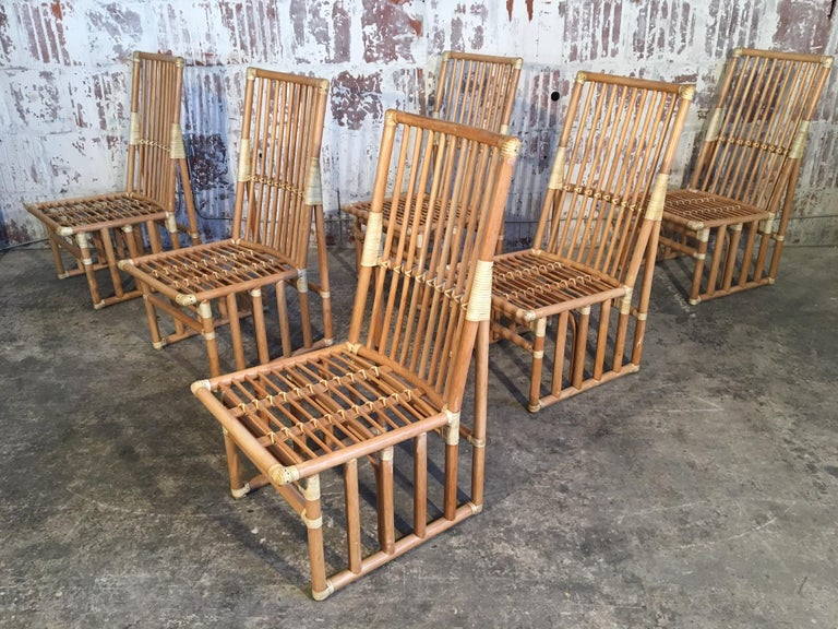 Set of 6 bamboo dining chairs by Kipp Stewart Designs for Summit Furniture, circa 1970s. Excellent vintage condition with age appropriate wear. Structurally sound. Seat and back cushions are included.  Professional reupholstery available, ask for