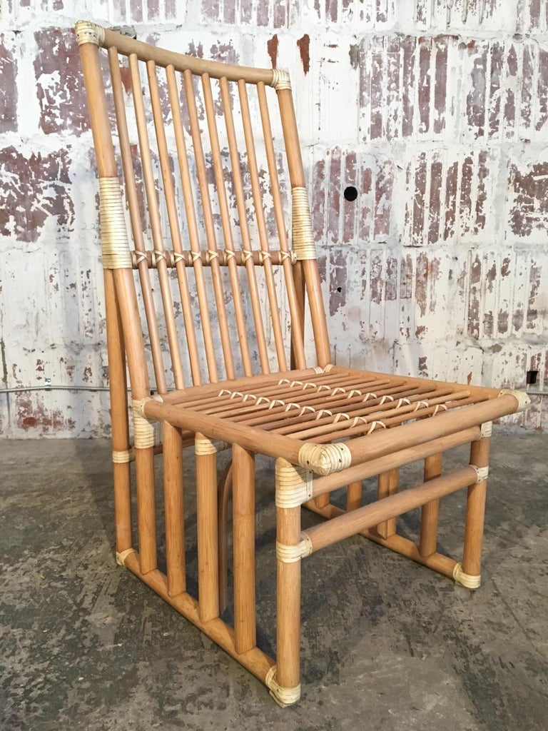 Hollywood Regency Set of Six Bamboo Dining Chairs by Kipp Stewart for Summit Furniture For Sale