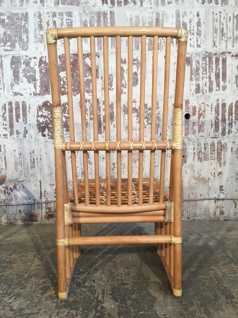 Late 20th Century Set of Six Bamboo Dining Chairs by Kipp Stewart for Summit Furniture For Sale