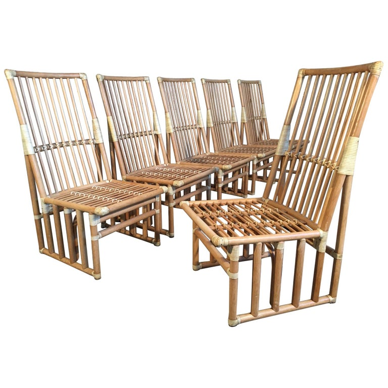 Set of Six Bamboo Dining Chairs by Kipp Stewart for Summit Furniture For Sale