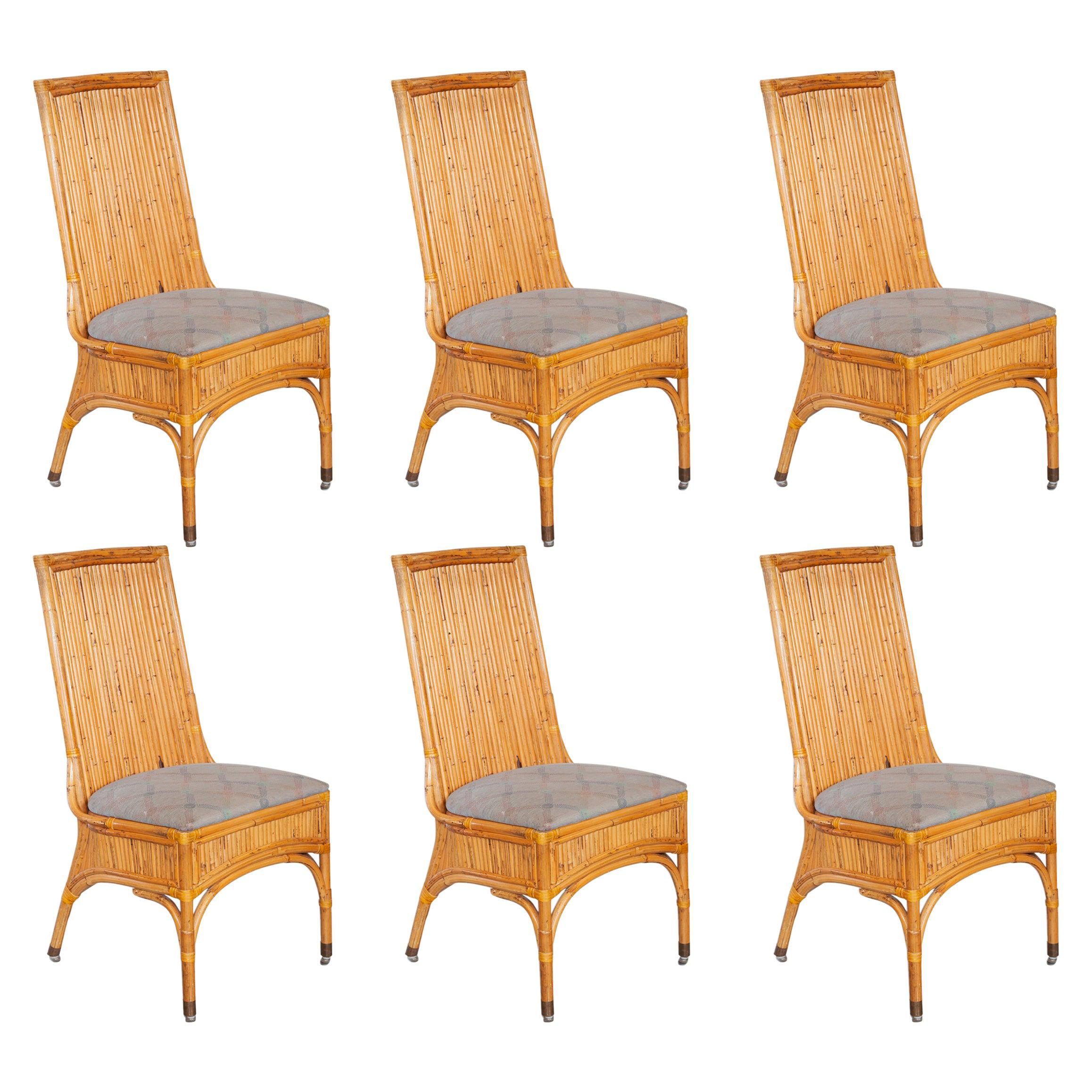 Set of Six Bamboo Dining Chairs, Italy, 1970s