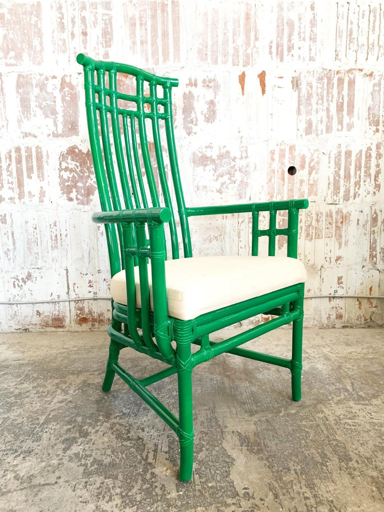 Set of 6 McGuire bamboo pagoda high back dining chairs. Newly lacquered in high gloss green. Very good vintage condition with new white upholstery and only very minor imperfections to finish.