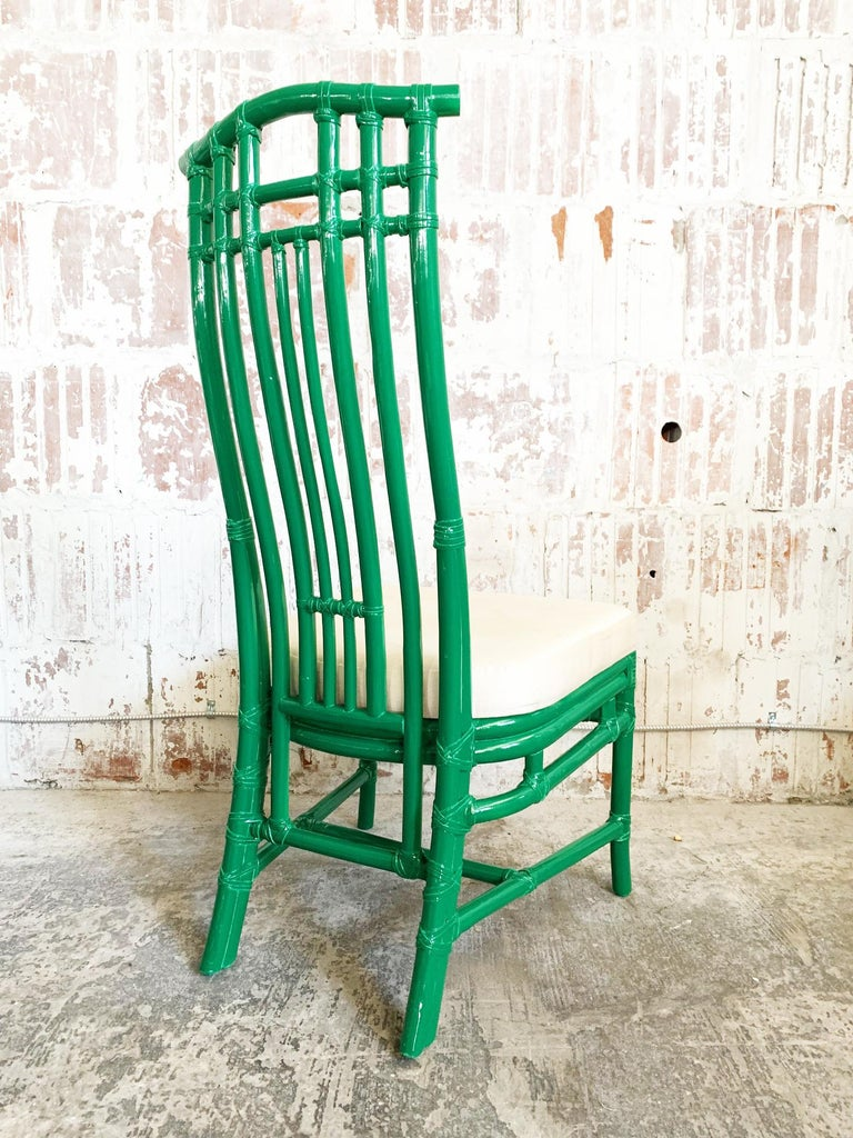 Late 20th Century Set of Six Bamboo Pagoda Dining Chairs by McGuire For Sale