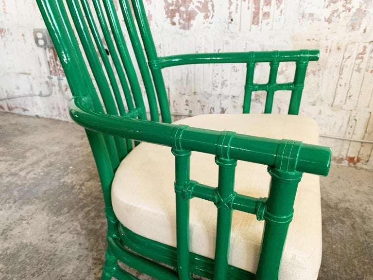 Set of Six Bamboo Pagoda Dining Chairs by McGuire For Sale 2