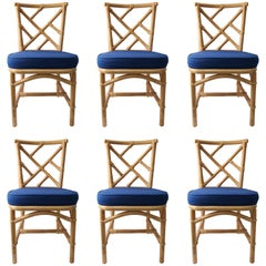 Set of Six Bamboo Side Chairs