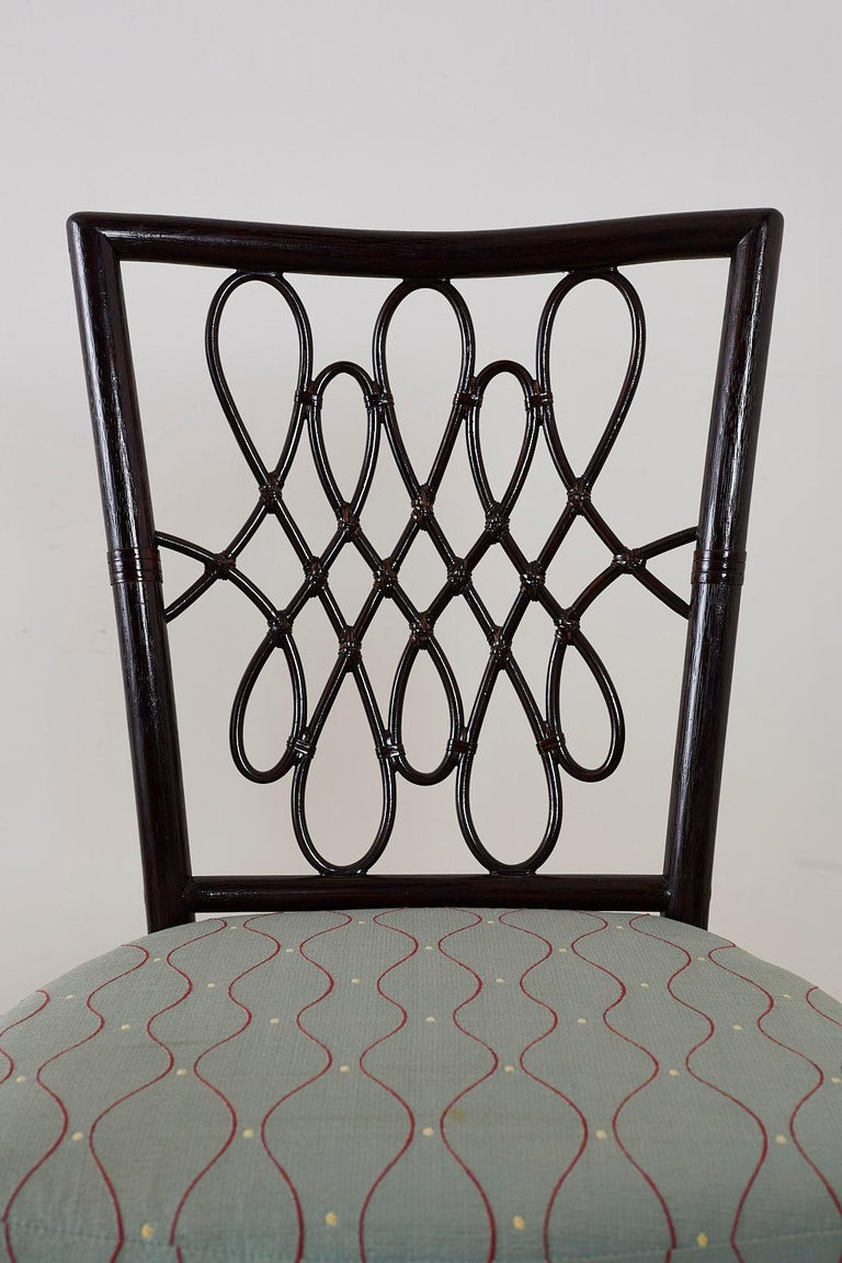 Set of Six Barbara Barry for McGuire Rattan Dining Chairs For Sale 3