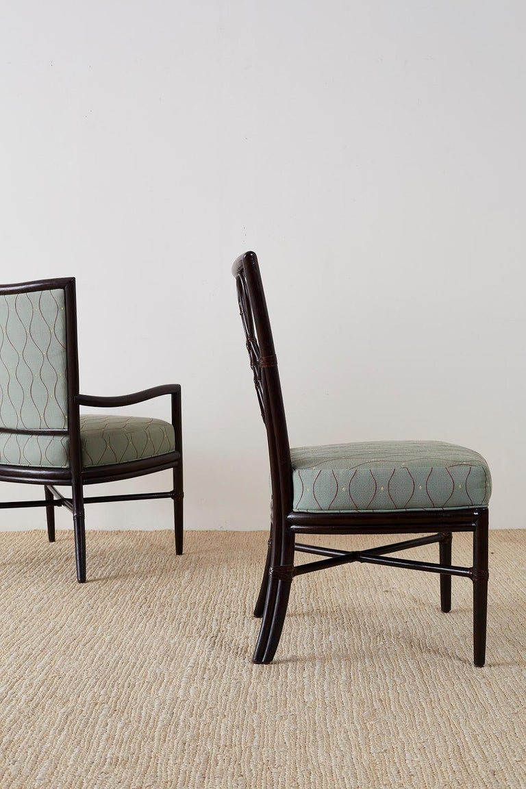 Set of Six Barbara Barry for McGuire Rattan Dining Chairs For Sale 8