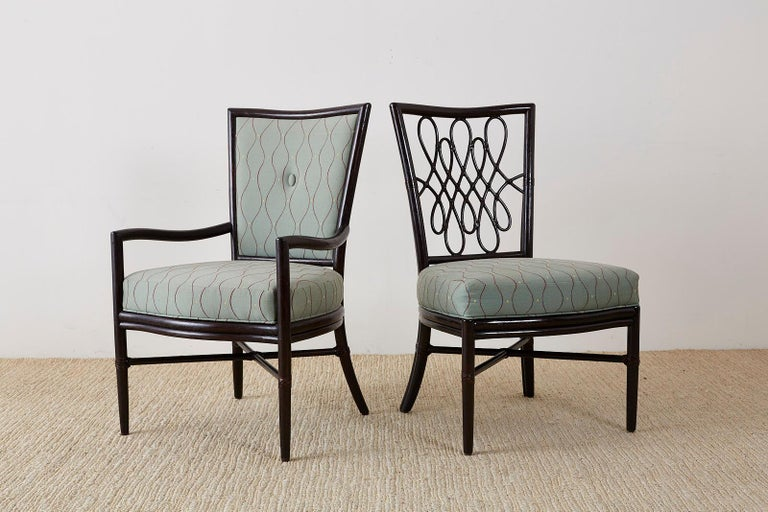 Organic Modern Set of Six Barbara Barry for McGuire Rattan Dining Chairs For Sale