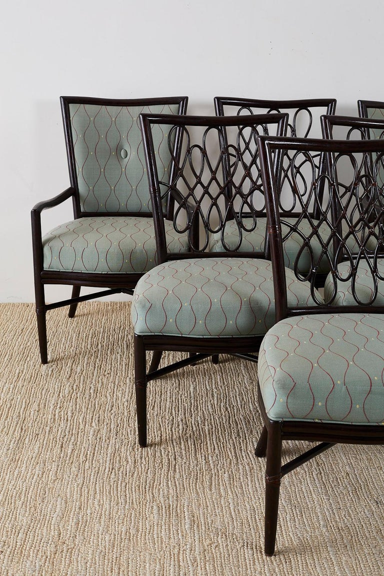 American Set of Six Barbara Barry for McGuire Rattan Dining Chairs For Sale