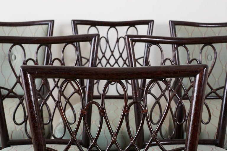 Hand-Crafted Set of Six Barbara Barry for McGuire Rattan Dining Chairs For Sale