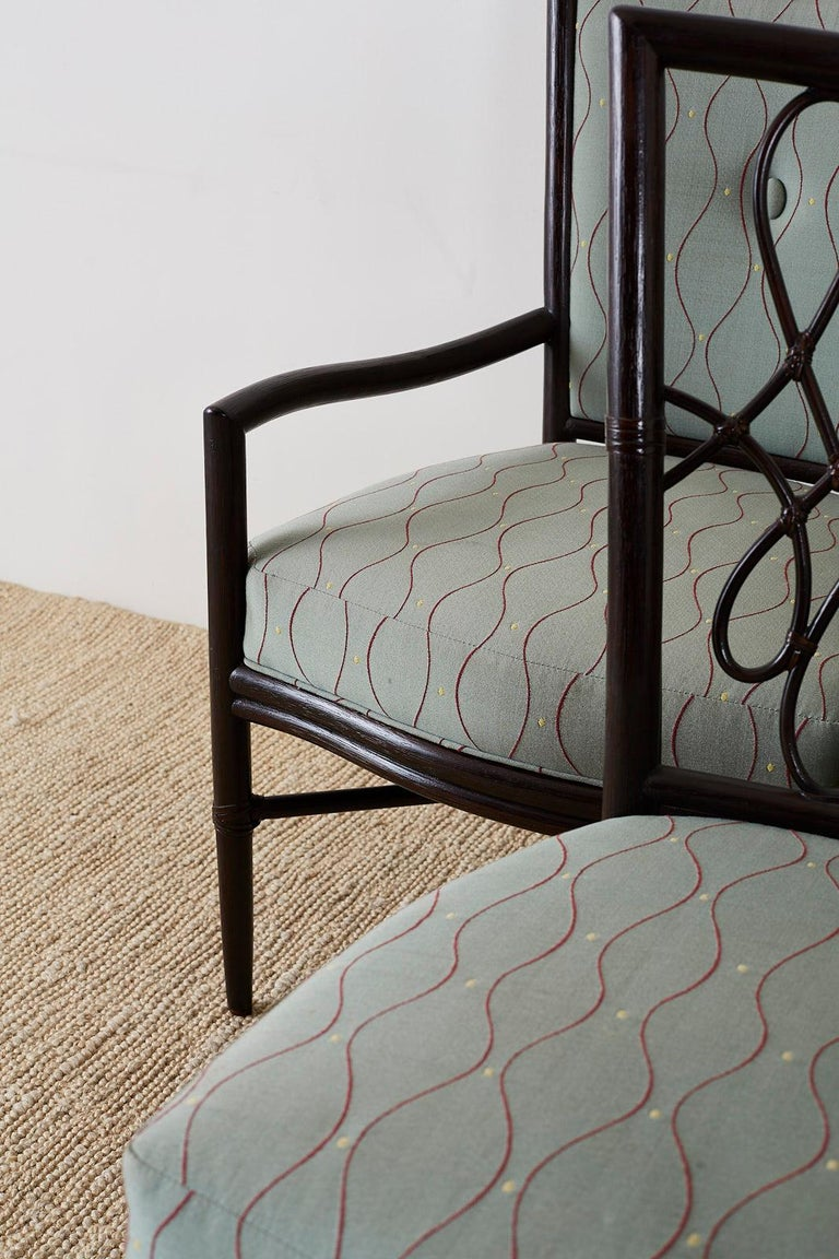 Set of Six Barbara Barry for McGuire Rattan Dining Chairs In Good Condition For Sale In Oakland, CA