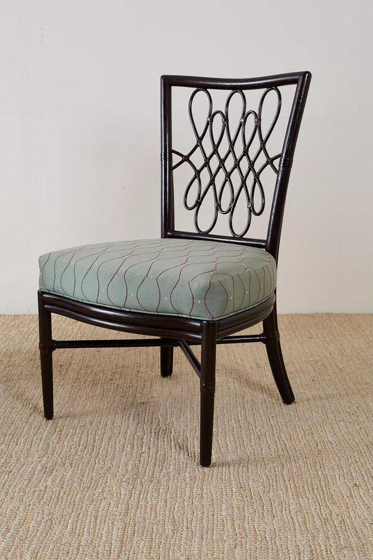 Set of Six Barbara Barry for McGuire Rattan Dining Chairs For Sale 1