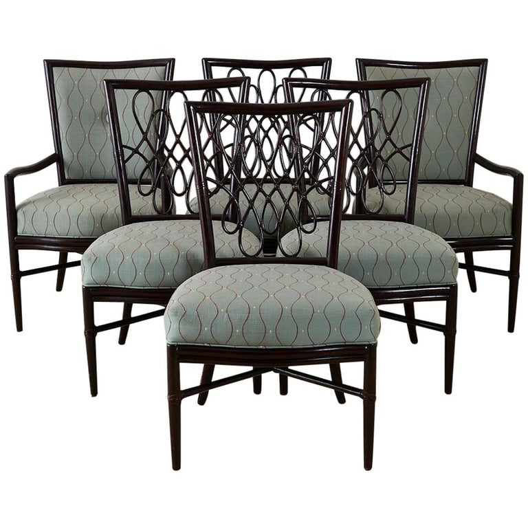 Set of Six Barbara Barry for McGuire Rattan Dining Chairs For Sale
