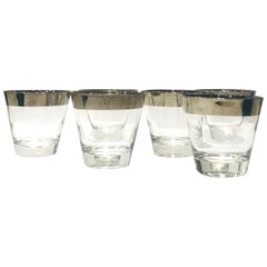 Set of Six Barware Glasses with Silver Overlay by Dorothy Thorpe, circa 1960