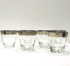 Set of Six Barware Glasses with Silver Overlay by Dorothy Thorpe, c. 1960