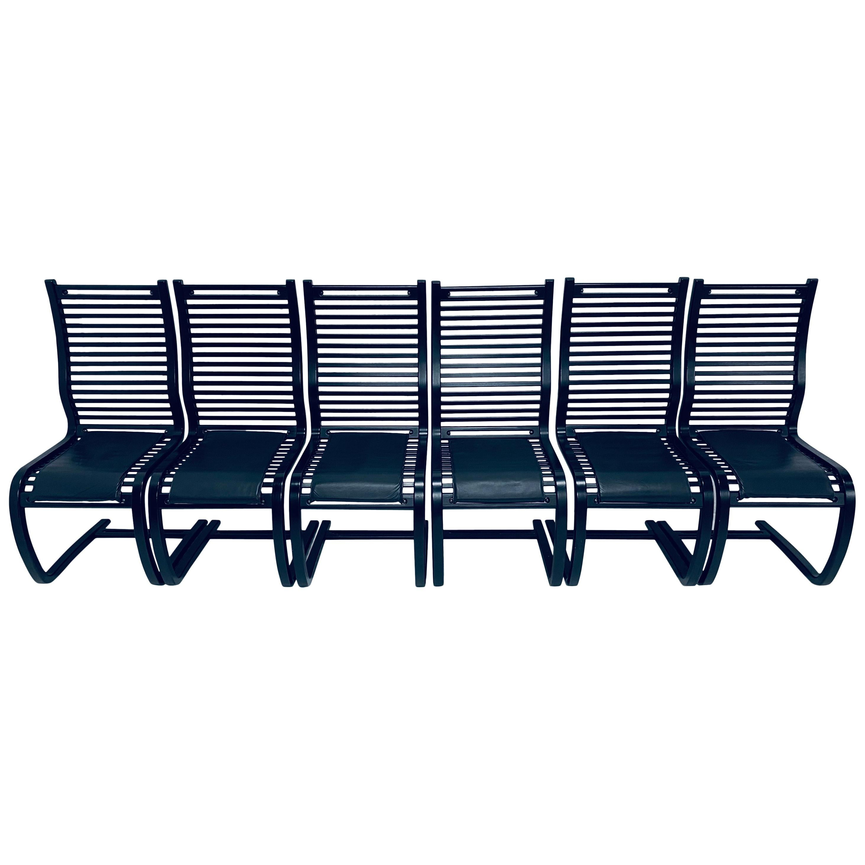 Set of Six Bauhaus Inspired Black Wood Slat Cantilevered Dining Chairs, 1980s