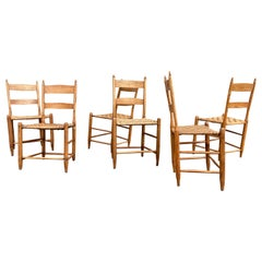 Set of Six Beautiful Antique Dining Chairs, Hickory, Virginia, 1880s