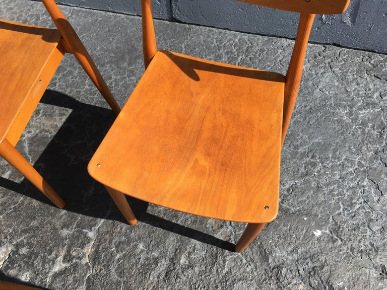 Wood Set of Six Beautiful Bentwood Danish Dining Chairs For Sale